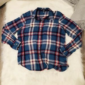 Chaps Blue & Red Plaid Long Sleeve Button Up Shirt